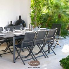 Collection hegoa table extensible en aluminium gris - Table ceramique jardin ...