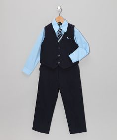 Take a look at the Silver Suit Dark Navy & Sky Blue Five-Piece Vest Set - Infant, Toddler & Boys on #zulily today!