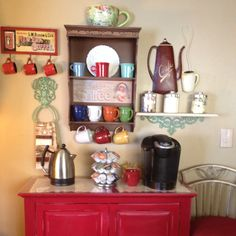 My dining room coffee station is finished!  Thanks to Pinterest for this  idea for freeing up much needed counter space in my kitchen!!  Love it!