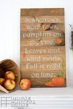 Beautiful fall projects and fall decor ideas. Beautiful fall projects and fall decor ideas to help inspire you for the season. Fall Decor Signs, Rustic Fall Decor, Autumn Decorating, Decorating Tips, Fall Projects, Wood Projects, Craft Projects, Scrapbooking, Happy Fall Y'all