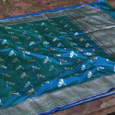 Royal Blue-Green Pure Katan Silk Banarasi Handloom Saree - Tilfi Indian Textiles, Asian History, Banarasi Sarees, Saree Wedding, Soft Fabrics, Yards, Picnic Blanket, Royal Blue, Blue Green