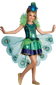 Girls Fancy Peacock Bird Costume - This fancy little costume is a peacock-inspired dress that's wear-ready for whenever you need! Its unique design includes fabulous detailing and a peacock tail bustle. This artistic animal costume can be enjoyed year round for multiple occasions.  This is a three-piece costume with a dress, detachable bustle, and hairpiece. The dress is shiny metallic with mesh and gold accents. #peacock #children #kids #animal #yyc #calgary #costume