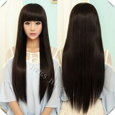 Cheap cosplay hair wig, Buy Quality cosplay wigs uk directly from China wig cosplay Suppliers: Sexy Lady Long Straight Women Wig Black Cosplay Synthetic Fast Shipping Cute Fringe U Part Hairstyles With Bangs, Straight Hairstyles, Cheap Cosplay Wigs, Kawaii Wigs, Buy Wigs, Cosplay Hair, Quality Wigs, Long Hair With Bangs, Sexy