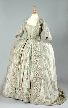 Robe à la francaise, second half century. Cream and pale green striped silk embroidered with floral sprays. (Historial Costume Galleries at Lotherton Hall). 18th Century Dress, 18th Century Costume, 18th Century Clothing, 18th Century Fashion, Vintage Gowns, Vintage Outfits, Vintage Fashion, Historical Costume, Historical Clothing