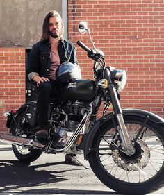 """So I bought a motorcycle…..#RoyalEnfield #madelikeagun"" - Tom Payne"