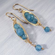 Blue Agate Wire Wrapped Earrings