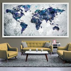 WORLD MAP Art Print Poster Watercolor World Map by FineArtCenter