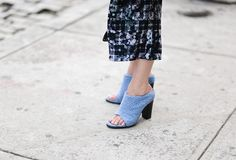 Pin for Later: New York's Street Style Accessory Game is Hard to Beat  The chicest cornflower-blue Tibi mules outside the designer's show.
