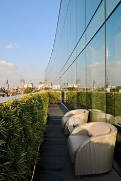 Terrace with a view of the city at the Armani Hotel Milano in Milan, Italy