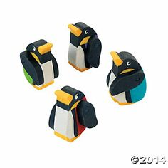 Moveable Rubber Penguin Erasers dz) by Fun Express Penguin Birthday, Penguin Party, First Birthday Winter, Cool Erasers, Back To School Party, School Parties, Fun Express, Pencil Toppers, Game Pieces