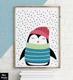 SALE Merry Penguin Printable Penguin Art Print 11x14