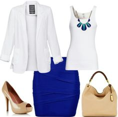 Blue and tan with white
