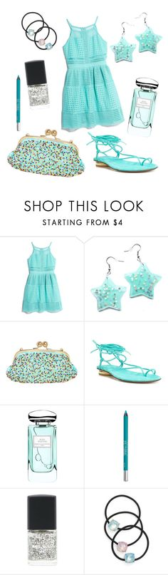 """""""Teal Sprinkles"""" by angelina-vanessa ❤ liked on Polyvore featuring GUESS by Marciano, Boutique Moschino, Stuart Weitzman, By Terry, Urban Decay, Lane Bryant and Cara"""