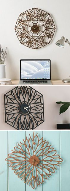 These laser-cut Birchwood clocks, discovered by The Grommet, are disguised as intricate, geometric artwork and are made entirely in the USA.