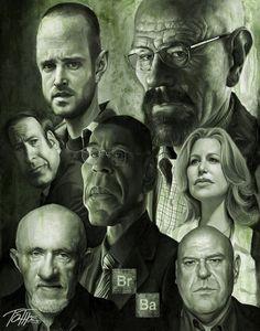 Caricatura de los protagonistas de Breaking Bad.