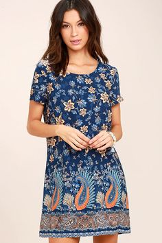 Boho Navy Blue Dress - Floral Print Dress - Shift Dress - $48.00 Lulus