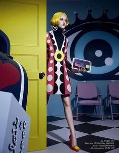 #KeepSatisfied #Pop #Art #YuriTan #Katerina by Xiao Wei Xu for Harper's Bazaar China September 2014. Editor by Xiao Mu Fan. Stylist/Set by Yuri Tan. Makeup by Sun Qi. Hair by Jason X. #Chanel #Dior #Valentino #Versace #Moschino #DVF #harpersbazaarcn