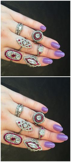 A hand full of beautiful antique ruby and diamond rings from Erstwhile Jewelry Co.