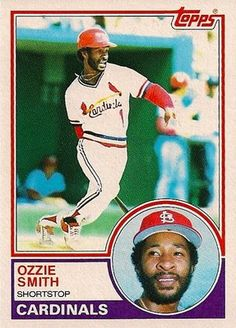 Simply the greatest Cardinals shortstop ever, Hall of Famer Ozzie Smith. A master defensive player and showman became one of the team's best clutch hitters during the mini-dynasty of the Herzog years. One of my all-time favorite players. Great look on this 1983 Topps card.