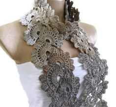 Crocheted coffee cream beige Bamboo Lace by likeknitting on Etsy. Very elegant!  Love!