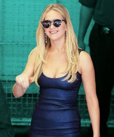 Jennifer Lawrence Comic Con Bodycon Dress Outfit | Jennifer Lawrence made multiple sartorially blessed appearances at Comic Con, including one in this slinky, blue Prabal Gurung dress. #refinery29 http://www.refinery29.com/2015/07/90657/jennifer-lawrence-bodycon-dress-outfit