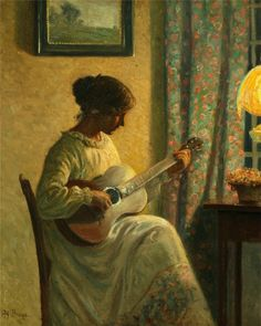 Interior with a Woman Playing Guitar - Karl Harald Alfred Broge Danish 1870 - 1955 Oil on canvas Guitar Painting, Music Painting, Guitar Art, Art Music, Paint Themes, Music Images, Playing Guitar, Classical Music, Sculpture