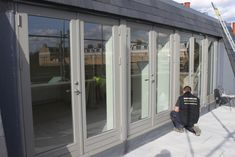 New engineered wood French doors 'Stone Grey' Window Frame Colours, Grey Window Frames, Grey Windows, House Windows, Windows And Doors, Aluminium French Doors, Grey Doors, External Doors, Fresco