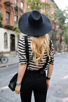 with a black hat | Fashion!! | Pinterest | Suspenders, Stripes and Hats