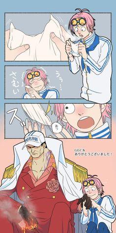 [Akainu x Coby] One Piece Coby, One Piece Ship, One Piece Ace, Anime Ai, Anime Manga, Kawaii Anime, Manga Anime One Piece, One Piece Fanart, One Piece Pictures