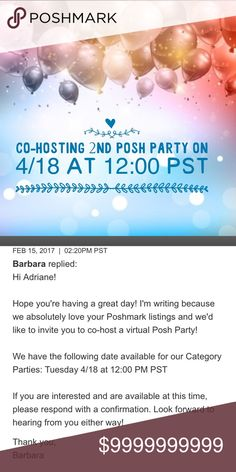 🎉🎉Co-Hosting 2nd Posh Party🎉🎉 Theme TBA, more details to come. Please like, share and tag your PFF's. 💕💕💕💕💕💕💕💕💕 Tory Burch Shoes