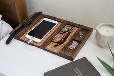 Composure Collection – Modular bedside organizer elegantly designed to charge your phone and dock your Apple Watch. Don't forget the organizer tray for your Warby Parker too!