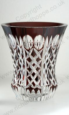 VINTAGE c.1940s-50s VAL ST. LAMBERT PLUM PRUNE OVERLAY CUT CRYSTAL VASE. This item is sold, to visit my website to see what's in stock click here: http://www.richardhoppe.co.uk or for help or information email us here: info@richardhoppe.co.uk