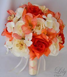 Wedding Bridal Bouquet CORAL IVORY ORANGE