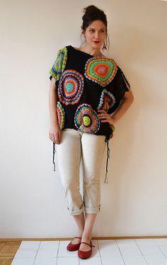 Black Women's Sweater Vest Crochet Light Silky Yarn by subrosa123