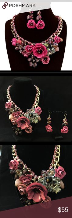 🎉HP🎉Statement Necklace & Earrings ♥️🌸💗 The very gorgeous & head turning Metal & crystal flowers 🌺 necklace with matching earrings . Absolutely it will make u look out of the crowd .   ❣️ Brand new with tags .  ❣️ Complimentary gift box on purchase .  ❣️ ( Christmas, gift , stocking stuffer , party , prom , special occasion , birthday , present , prom , holidays , special occasion ,Anarkali, Eid , evening , date , Diwali , Gift ) Jewelry Necklaces