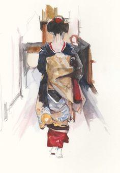 Japan Watercolor Gnievyshev Art Studio of Oleksii Gnievyshev Japan Watercolor, Watercolor Art, Photografy Art, Japan Art, Japan Japan, Okinawa Japan, Kyoto Japan, Geisha Art, Japan Painting