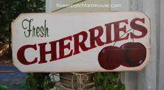 Vintage look Fresh Cherries Sign