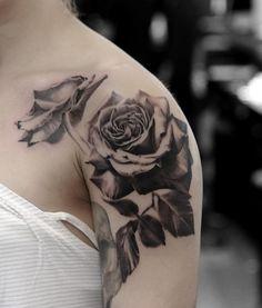 Black rose shoulder tattoo - 120 Meaningful Rose Tattoo Designs