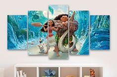 Moana Disney Movie - Childrens 5 Piece / Panel Canvas - Wall Art - Office - Bedroom Wall Art - Multi Panel - #063 by CanvasboxShop on Etsy https://www.etsy.com/listing/477069010/moana-disney-movie-childrens-5-piece