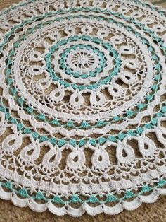 Handmade aqua and white large doily Vintage Lace Doily Large Doily Home Decor Made to Order Wedding Cards, Diy Wedding, Crochet Patterns, Crochet Appliques, Christmas Rose, Lace Doilies, Vintage Lace, Happy Shopping, A Table