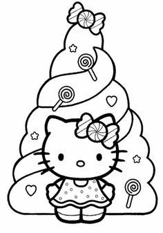 Hello Kitty And Christmas Tree Coloring Pages