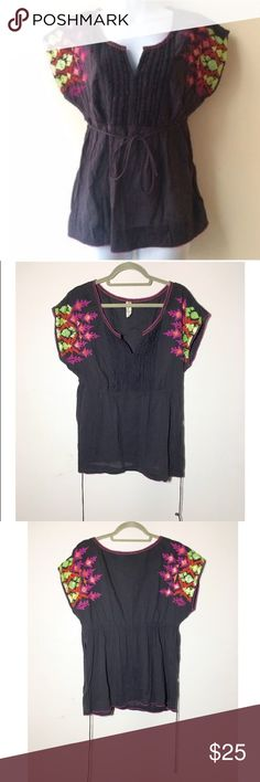 Anthropologie Floreat boho embroidered beaded top Base color is grey. Very good pre-loved condition minus a few sequins missing on shoulder as pictured. Side zipper. 100% cotton. . ✅offers❌trades/PP 💰make an offer on bundles Anthropologie Tops Blouses