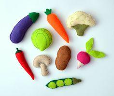 Felt Vegetables Magnets - 9 items collection - part 1 , stuffed felt , fridge magnets