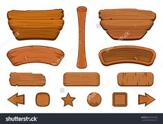 Set of cartoon wooden buttons with different shapes for game user interface (GUI GUI) development, Vector illustration
