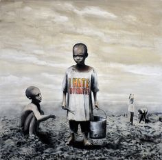 Banksy  note: disturbing & sad. does what art is supposed to do - create a reaction, whatever it is.
