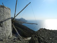 The horizon from Olympos. Karpathos Greece, Corfu, Santorini Villas, Myconos, Greece Islands, Mural Ideas, Windmills, Luxury Villa, Wall Murals