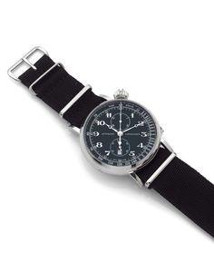 LONGINES AVIGATION WATCH, TYPE A7, N° 1182, vers 2012 Chronographe bracelet de pilote en acier.