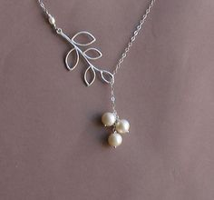 Silver Branch Lariat with Three Freshwater by tinycottagetreasures, $26.00
