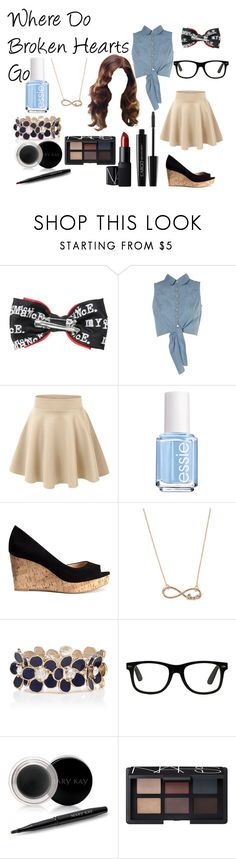 """""""Where Do Broken Hearts Go"""" by redheadmahomiemidnightredaustin ❤ liked on Polyvore featuring Hot Topic, Lipsy, Essie, H&M, With Love From CA, Forever New, Mary Kay and NARS Cosmetics"""