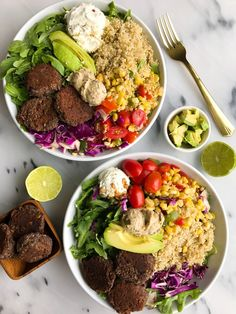 Crispy Vegan Black Bean Falafel Bowls for an easy and healthy gluten-free meal! I don't think there has been a time I have ever said no to falafel. I love ordering it in my salads from Sweet Green and Vegan Recipes Videos, Healthy Gluten Free Recipes, Healthy Dinner Recipes, Tofu Recipes, Vegetarian Recipes, Healthy Work Snacks, Healthy Meals, Healthy Eating, Clean Eating